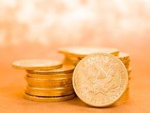 Fem dollar guld- mynt Arkivfoton
