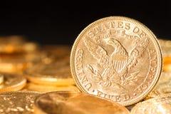Fem dollar guld- myntar Royaltyfri Foto