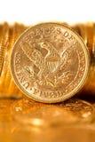Fem dollar guld- myntar Royaltyfri Fotografi