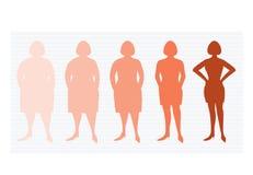 Fem etapper av silhuettekvinna på vägen att förlora vikt, vektorillustrationer royaltyfri foto