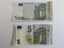 Fem euroräkningar Royaltyfri Bild