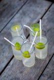 Fem exponeringsglas av lemonad på en grov trätabell Coctailar med gin, uppiggningsmedel och limefrukt på en grov träbakgrund Royaltyfri Foto
