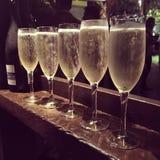 Fem exponeringsglas med champagne Royaltyfria Foton