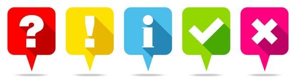 Fem färgrika anförandebubblor ifrågasätter för informationskontroll om svar fläckar royaltyfri illustrationer