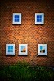 Fem fönster, en vägg Arkivbild