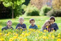 Fem förtjusande ungar, iklädda randiga skjortor, krama och smili Arkivbilder