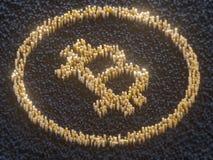 Fem faktiska mynt Bitcoins på bräde för utskrivaven strömkrets illustration 3d Royaltyfria Foton