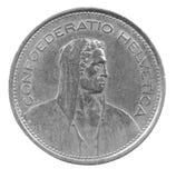 Fem franc mynt Fotografering för Bildbyråer