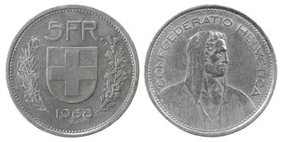 Fem franc mynt royaltyfria foton