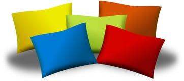 Fem färgade kuddar eller kuddar Fotografering för Bildbyråer