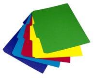 Fem färgade mappar som ut fläktades Fotografering för Bildbyråer