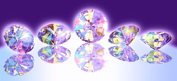Fem glödande juvlar royaltyfri illustrationer