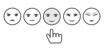 Fem Gray Faces Feedback /Mood och hand Iconic illustration av tillfredsställelsenivån Spänna för att bedöma sinnesrörelserna av d stock illustrationer