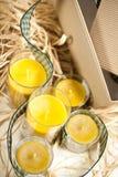 Fem gula stearinljus Royaltyfri Bild