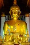 Fem guld- buddha Arkivbild