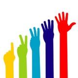 fem händer Fotografering för Bildbyråer
