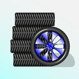 Fem hjul för bil vektor illustrationer