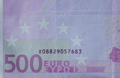 Fem hundratals 500 eurosedlar Arkivfoto