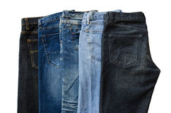 Fem jeans Royaltyfri Fotografi