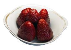 Fem jordgubbar i vasen Fotografering för Bildbyråer
