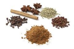 Fem kryddor som gör fem-krydda pulver Fotografering för Bildbyråer