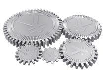 fem kugghjul silver yuan Arkivfoto