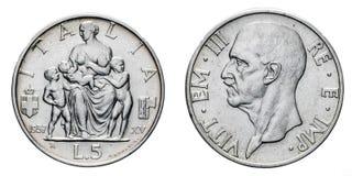 Fem 5 Lire silvermyntFecondita fruktsamhett Vittorio Emanuele III kungarike 1937 av Italien Arkivbilder
