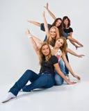 fem lyckliga kvinnor Royaltyfri Bild