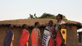 Fem maasaikvinnor som sjunger och dansar i en by nära maasaien mara stock video