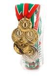 fem medaljer Royaltyfri Bild