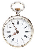 Fem minuter till åtta klockan på den retro klockan för visartavla Royaltyfria Foton