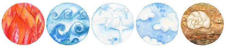 Fem naturliga beståndsdelar: avfyra, bevattna, eter, luft och jord royaltyfri illustrationer