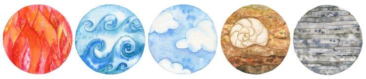Fem naturliga beståndsdelar: avfyra, bevattna, lufta, jorda en kontakt och belägga med metall stock illustrationer