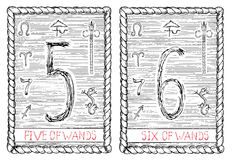 Fem och sex av trollstäver Tarokkortet Royaltyfria Bilder
