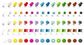 Fem olika benvisarflaggor och skugga för färger för magneter femton fastställd royaltyfri illustrationer