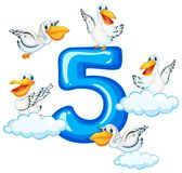 Fem pelikan och nummer fem stock illustrationer