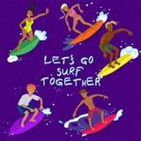 Fem personer som surfar på en bild för vågvektor vektor illustrationer