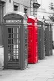 Fem röda London telefonaskar i svartvitt med en som är röd Royaltyfri Fotografi