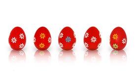 Fem röda påskägg Fotografering för Bildbyråer