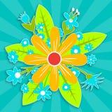 Fem röda pappers- blommor royaltyfri illustrationer