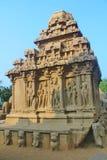 Fem Rathas på Mahabalipuram, Indien Royaltyfria Bilder