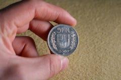Fem schweizisk franc myntslut upp Royaltyfri Foto