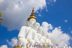 Fem sittande Buddhastatyer på Wat Pha Sorn KaewWat Phra Thart Pha Kaew Royaltyfri Fotografi
