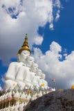 Fem sittande Buddhastatyer på Wat Pha Sorn KaewWat Phra Thart Pha Kaewin Khao Kho, Phetchabun, nord-central Thailand Royaltyfri Foto