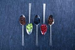 Fem skedar med mat och kryddor Arkivbilder