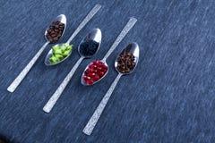 Fem skedar med mat och kryddor Arkivfoton