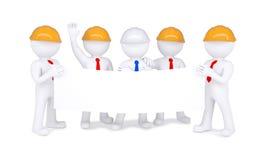 Fem små män 3d i hjälmar som rymmer den vita affischen vektor illustrationer