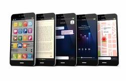 Fem smarta telefoner Arkivfoton