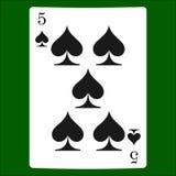 Fem spadar Card dräktsymbolsvektorn som spelar kortsymbolvektorn royaltyfri illustrationer