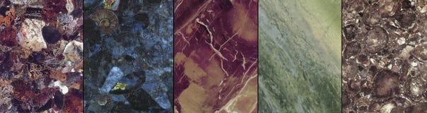 Fem special marmor och stenar arkivfoto